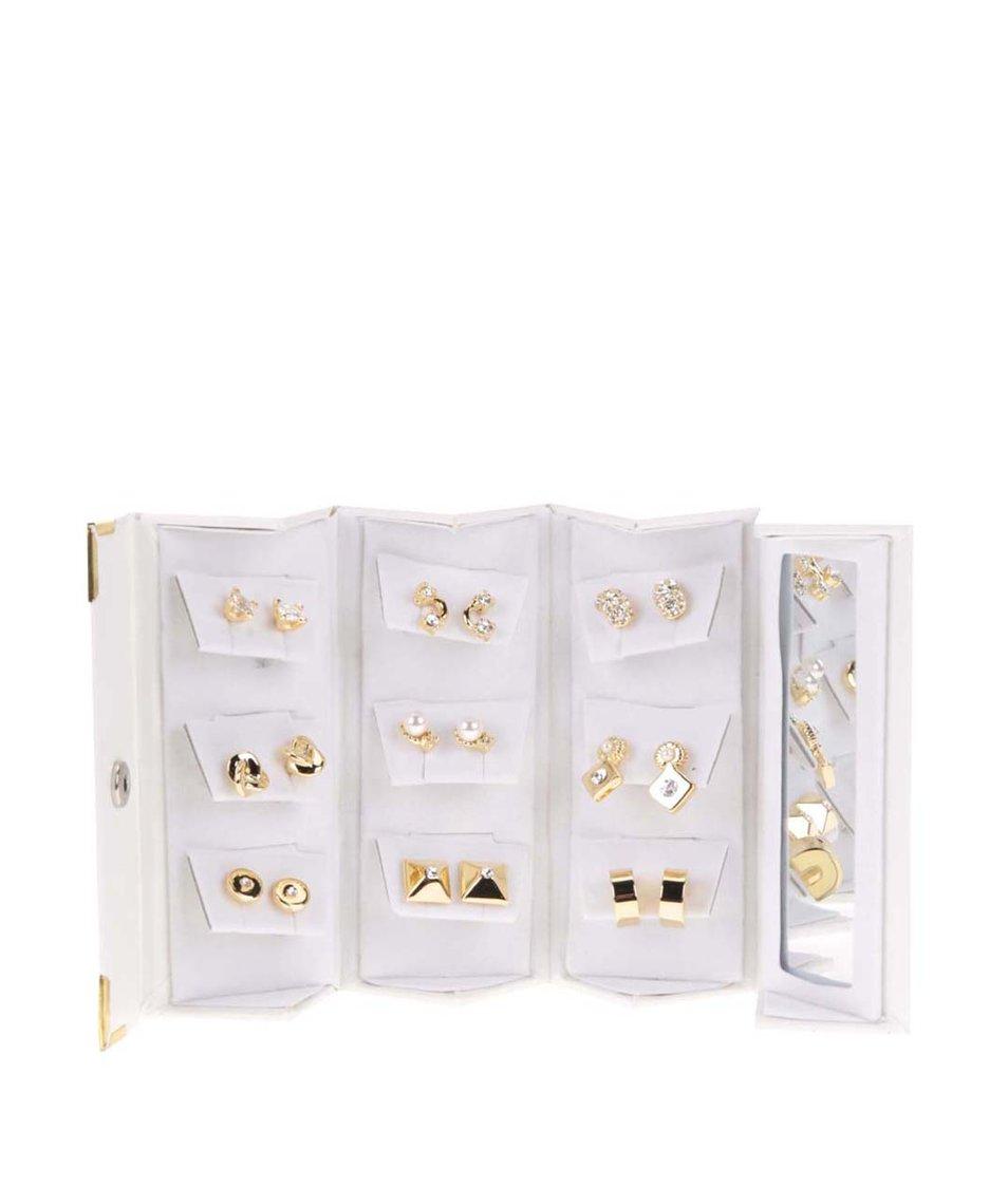 Sada náušnic ve zlaté barvě v bílé dárkové kazetě Pierre Cardin