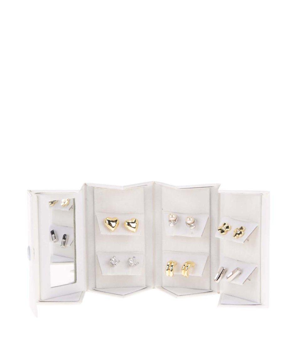 Sada náušnic ve zlaté a stříbrné barvě v bílé dárkové kazetě Pierre Cardin