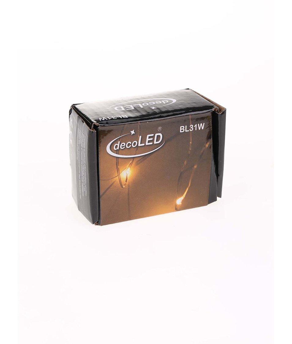 Bílý světelný LED řetěz ve tvaru kapek na baterie decoLED