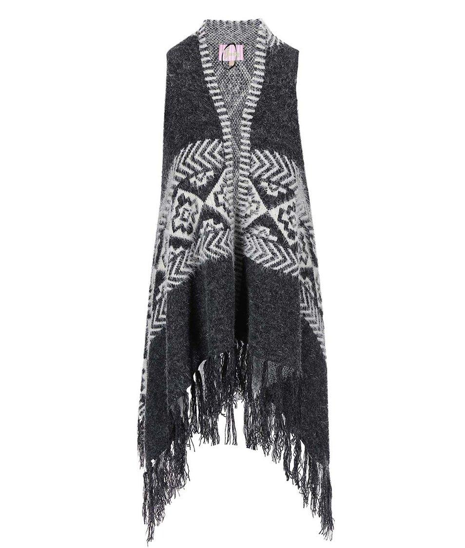 Bílo-šedá vesta se vzorem Lipstick Boutique Neeve