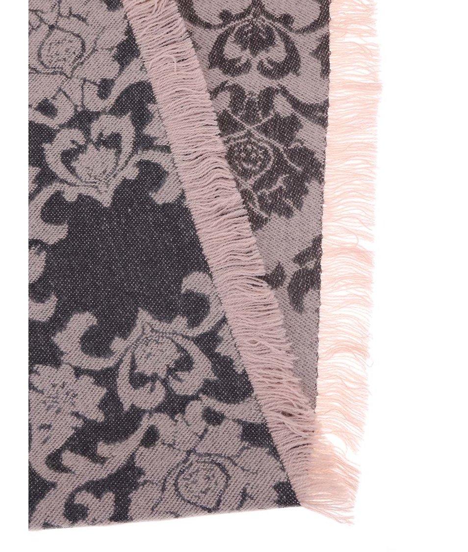 Růžovo-šedá šála se vzorem s.Oliver