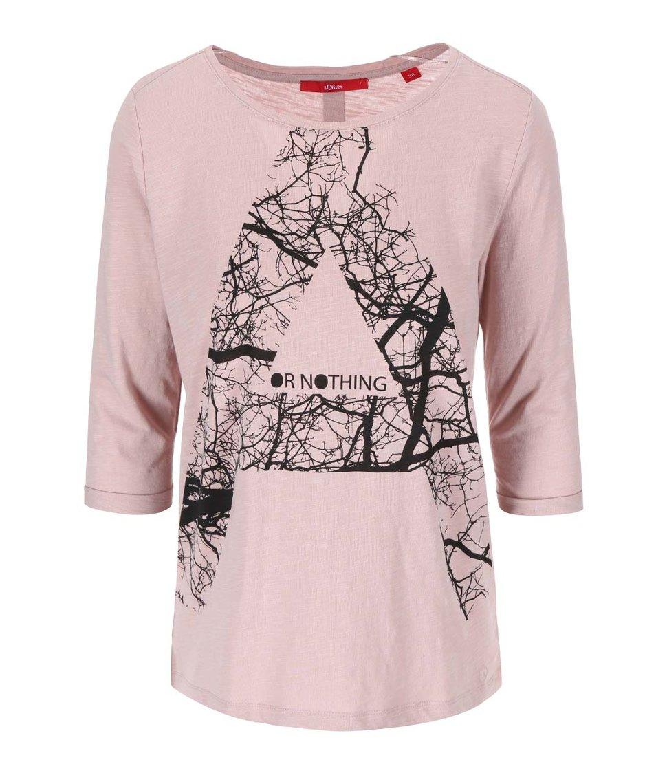 Růžové tričko s 3/4 rukávem s.Oliver