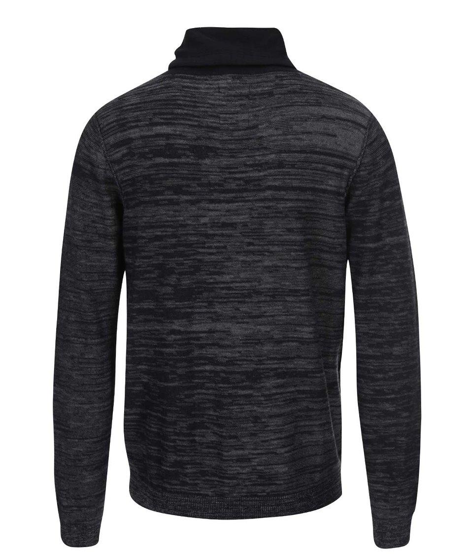 Černý žíhaný svetr s vysokým límcem Blend