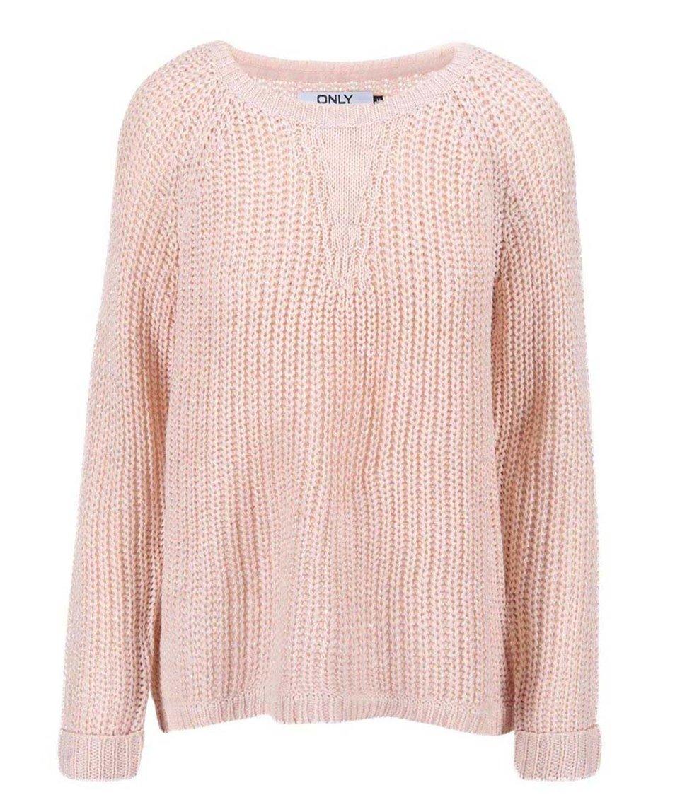 Světle růžový volný svetr ONLY Ana