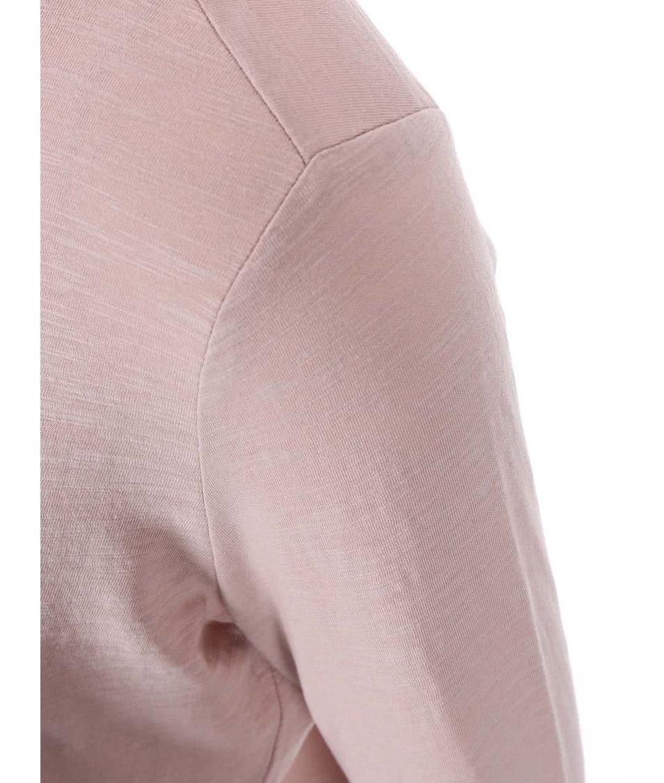 Růžové tričko s potiskem a 3/4 rukávem s.Oliver