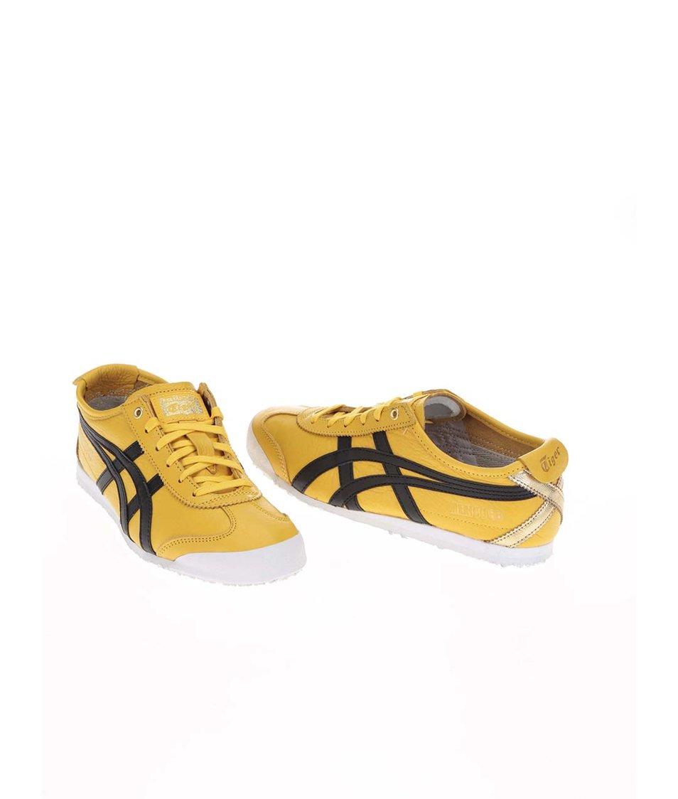 Černo-žluté kožené dámské tenisky Onitsuka Tiger Mexico 66