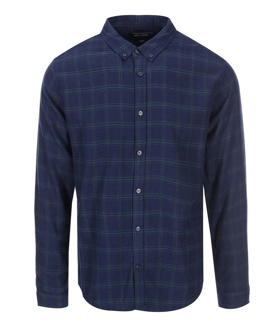 Tmavě modrá kostkovaná košile ONLY & SONS Hope
