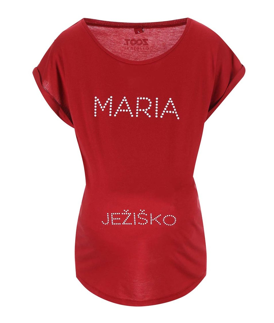 Červené těhotenské tričko tričko ZOOT Originál Marie a Ježiško