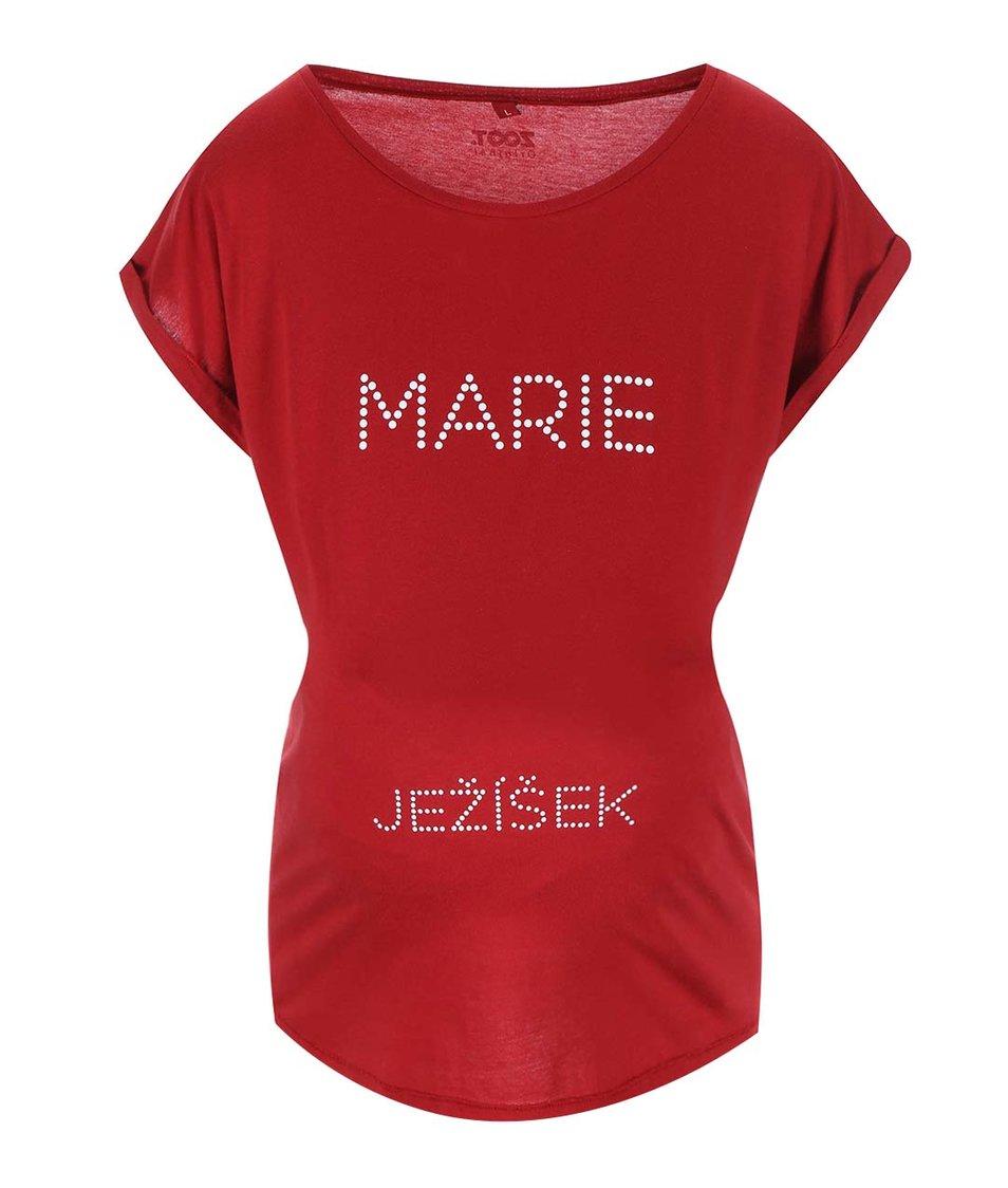 Červené těhotenské tričko ZOOT Originál Marie a Ježíšek