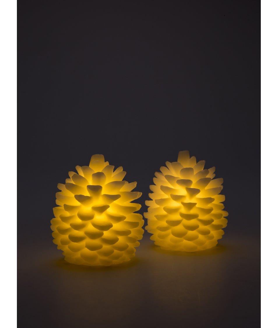 Set dvou bílých LED svíček ve tvaru šišek Sirius