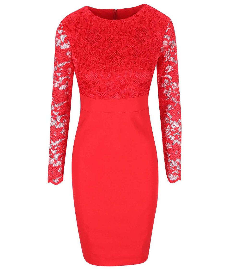 Červené šaty s krajkovaným topem Goddiva