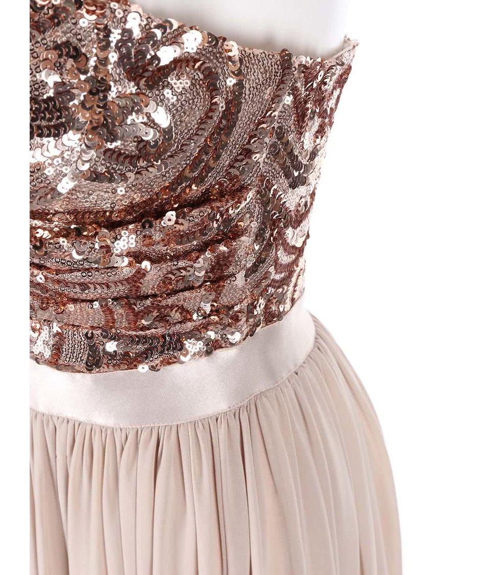 Šaty tělové barvy se zdobeným topem Goddiva