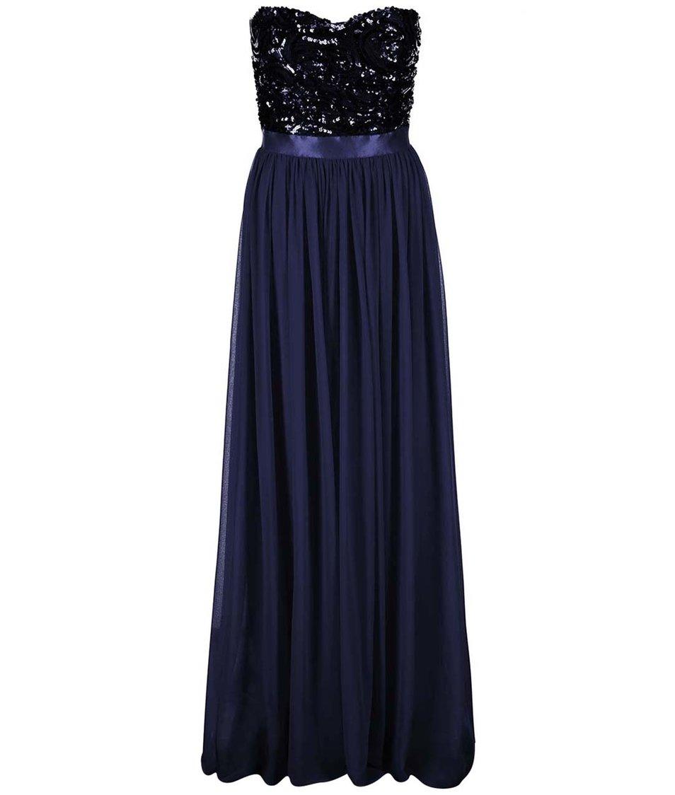 Tmavě modré šaty se zdobeným topem Goddiva