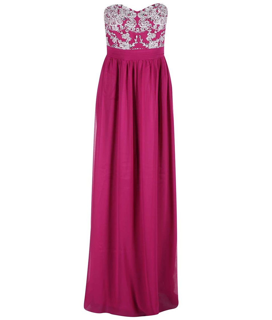 Růžové šaty s květinovým topem Goddiva