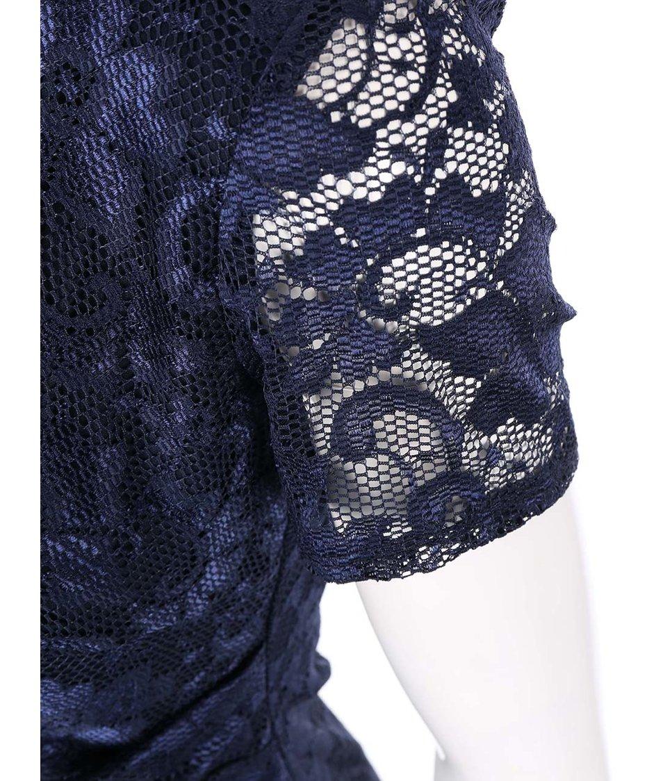 Tmavě modré krajkované šaty Goddiva