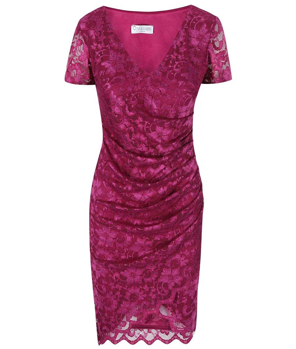 Růžové krajkované šaty Goddiva