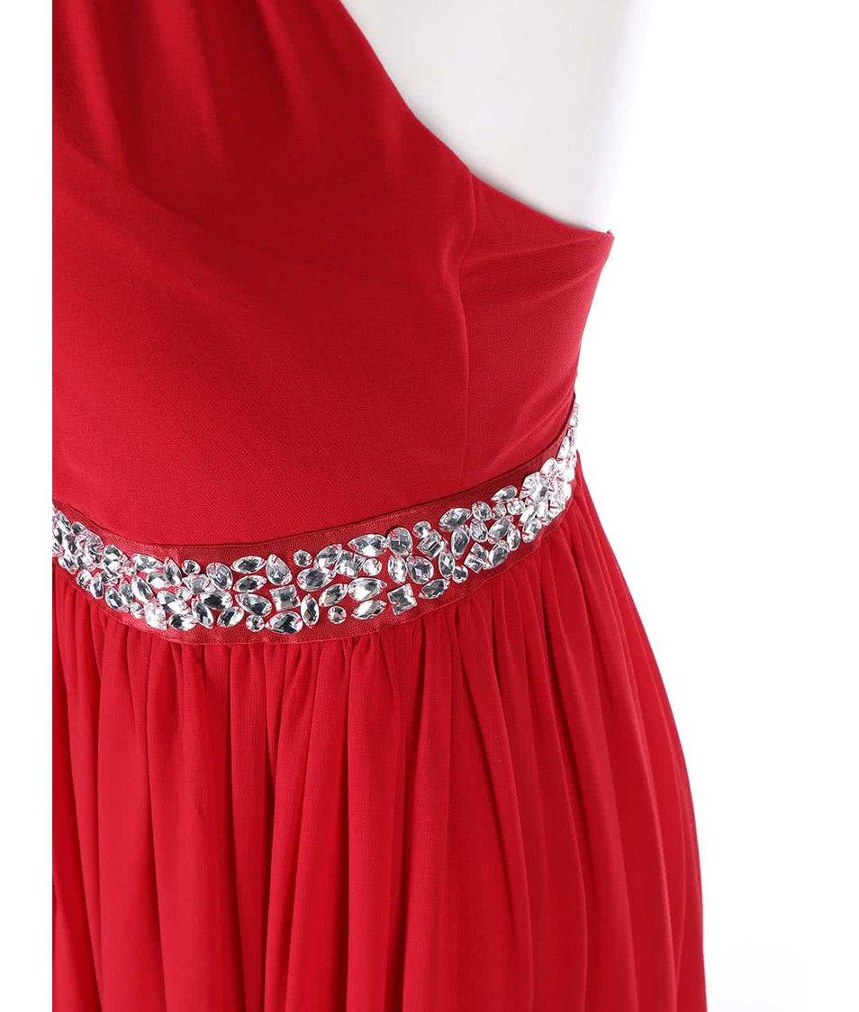 Červené šaty se zdobeným pasem Goddiva