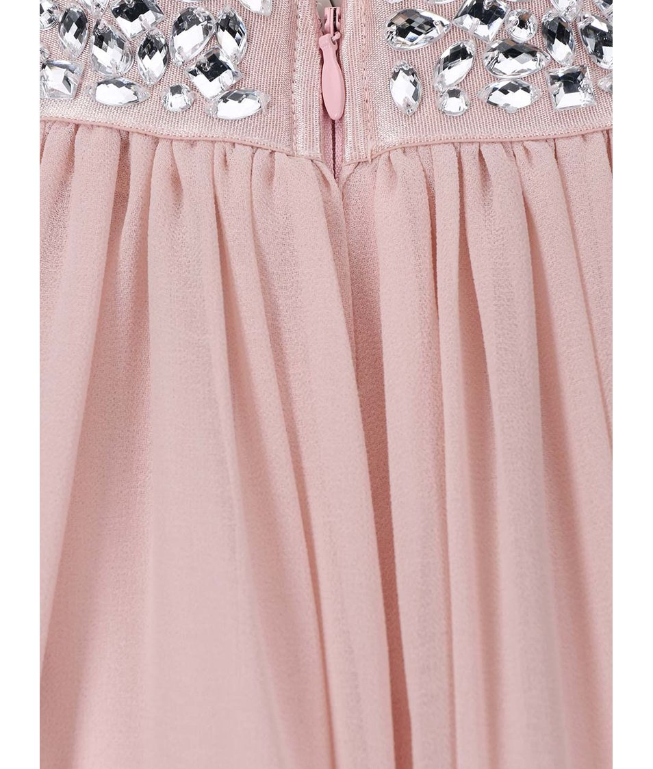 Růžové šaty se zdobeným pasem Goddiva