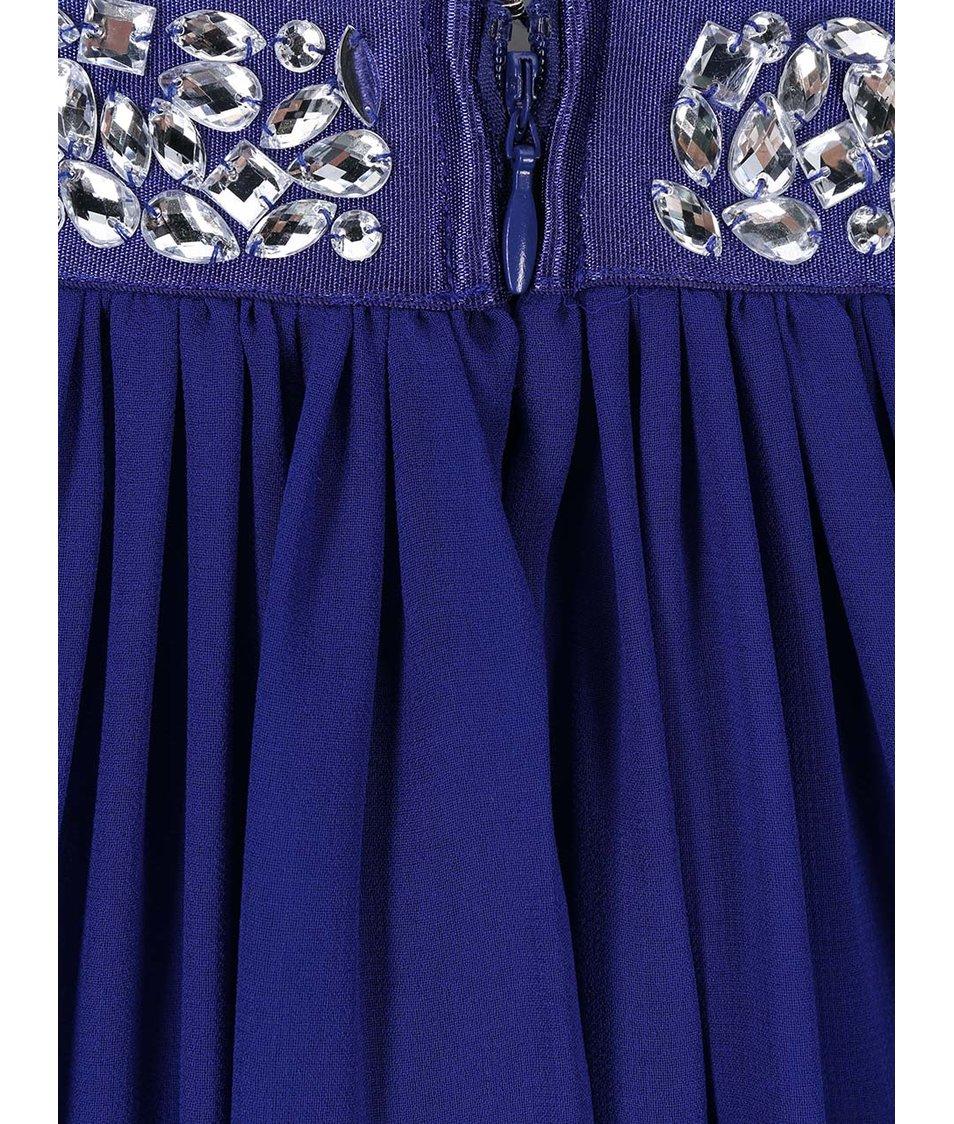 Tmavě modré šaty se zdobeným pasem Goddiva