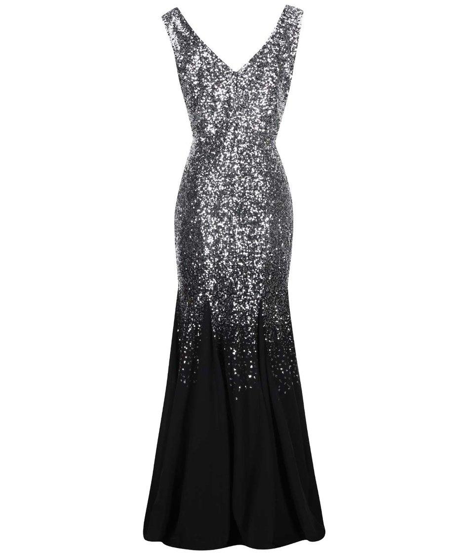 Dlouhé šaty v stříbrné barvě Goddiva