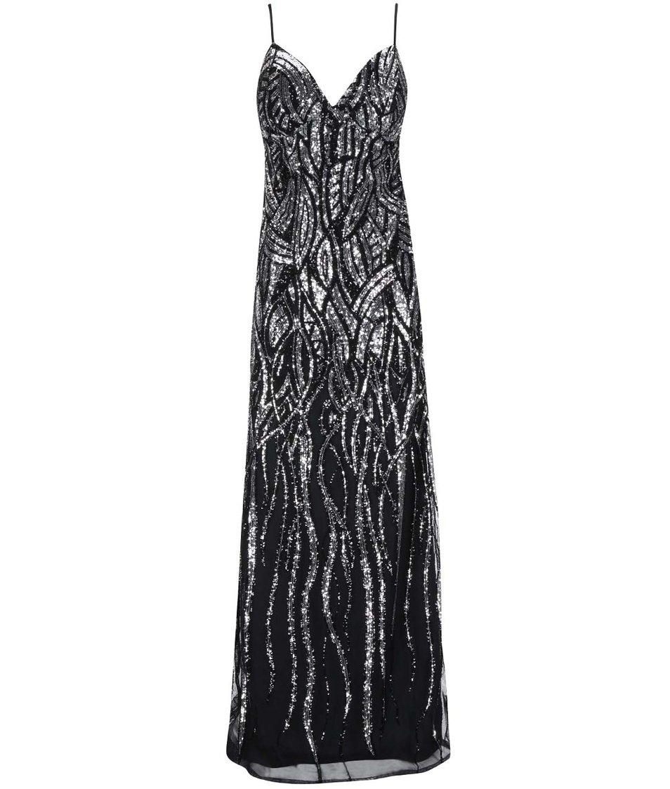 Dlouhé šaty v černo-stříbrné barvě Goddiva