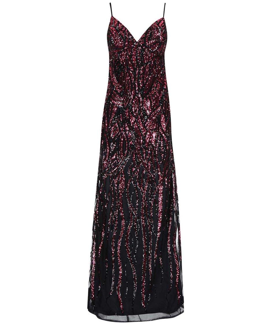 Černo-růžové dlouhé šaty Goddiva