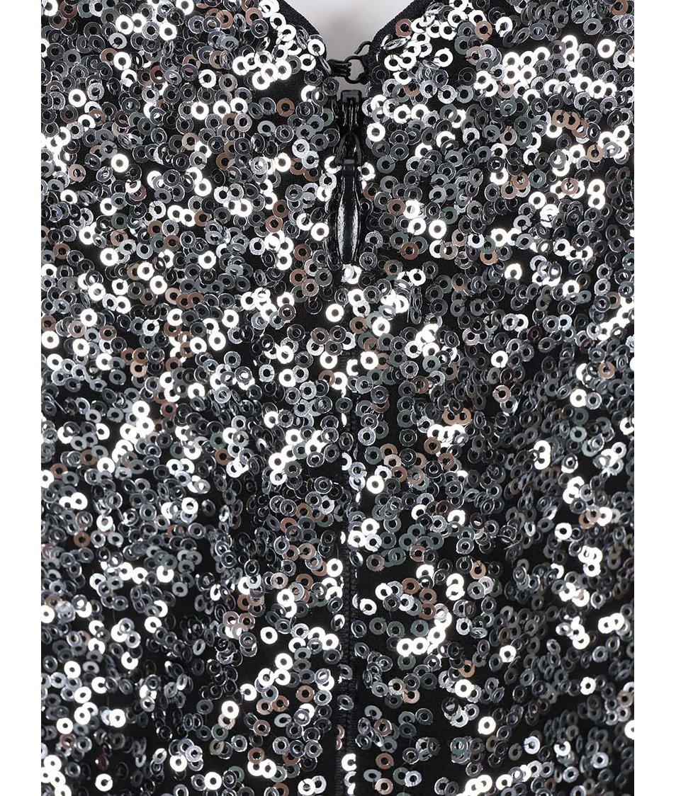 Koktejlové šaty v černo-stříbrné barvě Goddiva