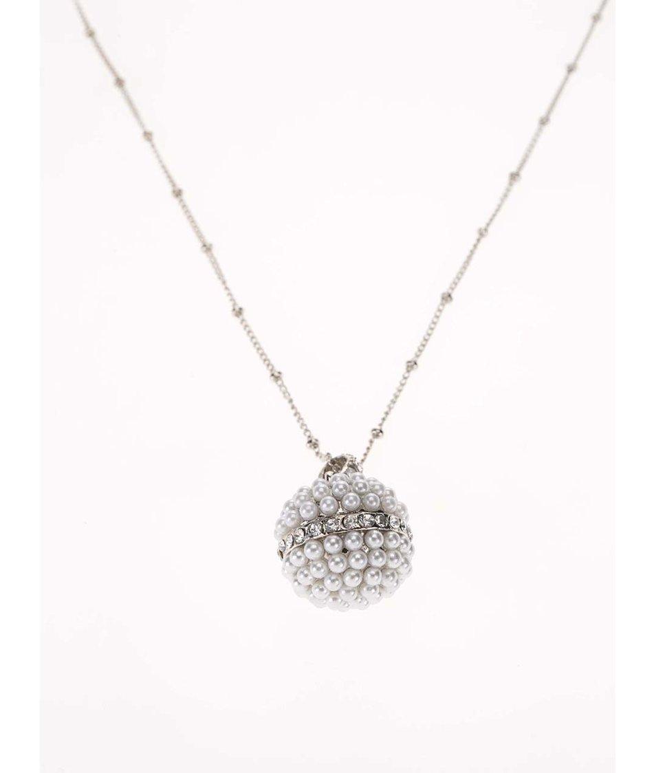 Náhrdelník s přívěskem s umělými perličkami ve stříbrné barvě Gionni Pearl