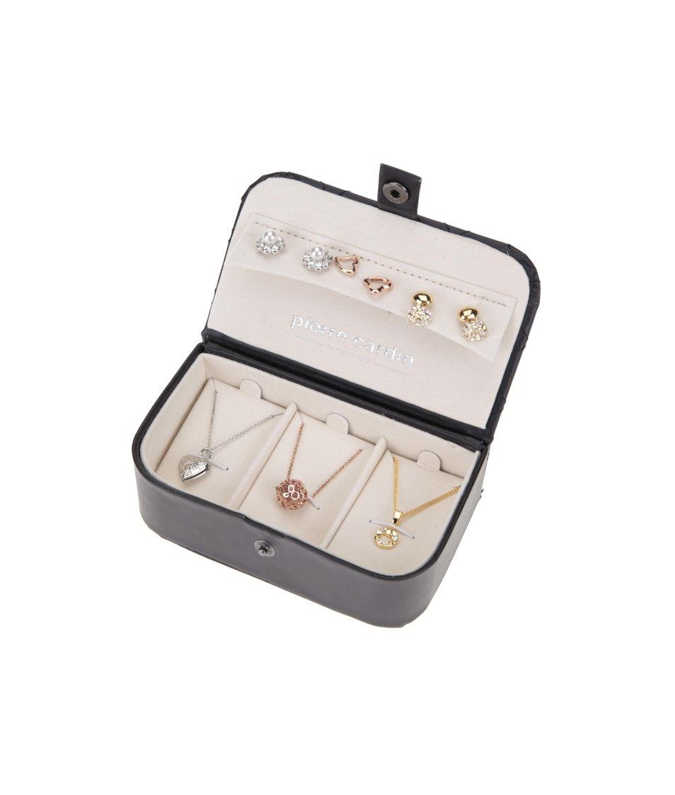 Sada šperků v černé kazetě Pierre Cardin