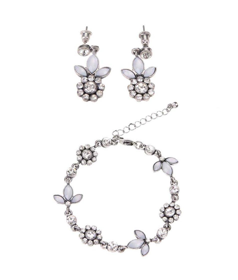 Dárkový set náušnic a náramku ve stříbrné barvě Gionni Flower Blet