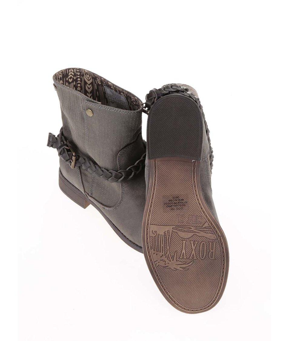 Šedohnědé kotníkové boty s pletenými přezkami Roxy Skye