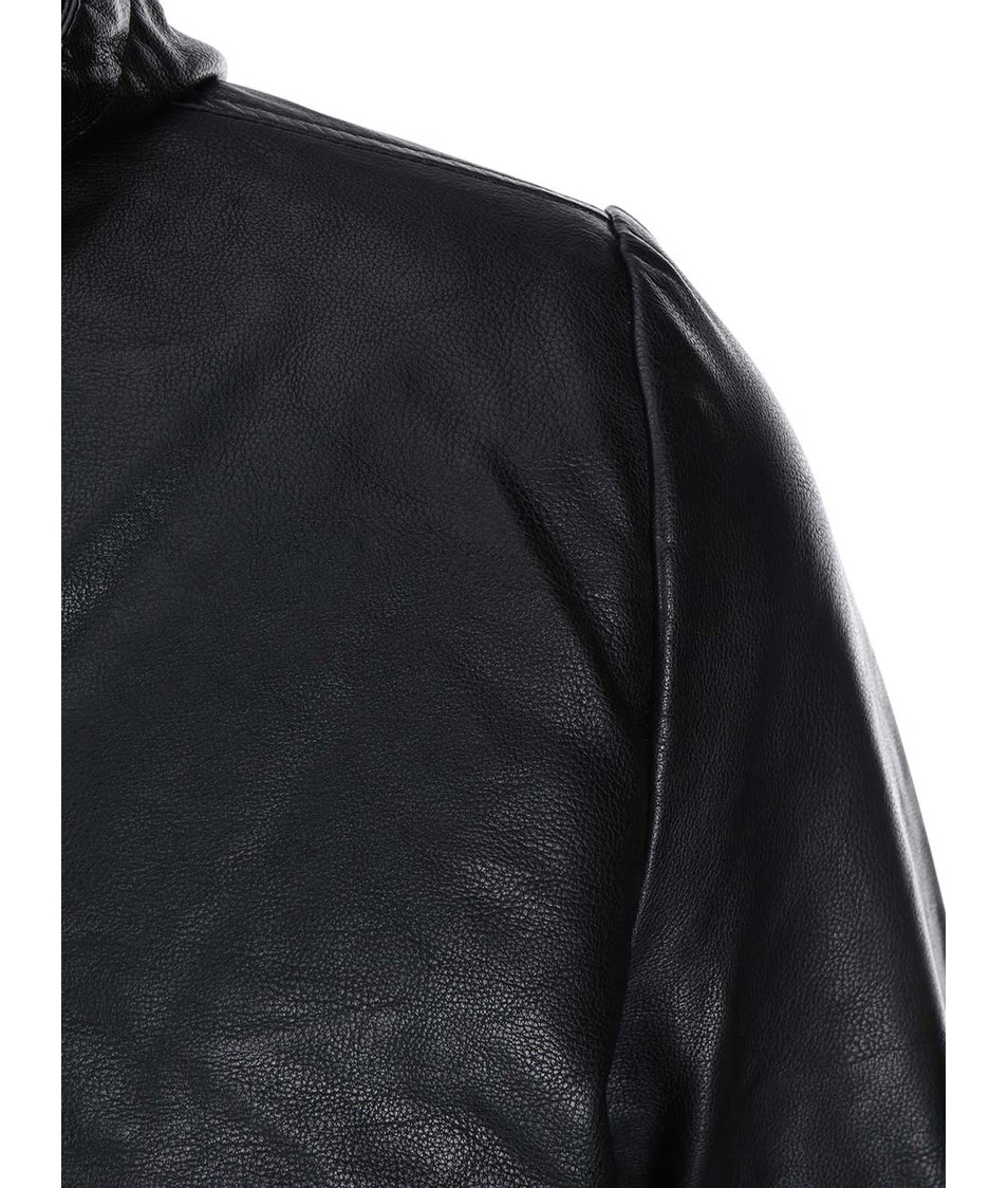 Černá koženková bunda s kapucí ONLY & SONS Aston