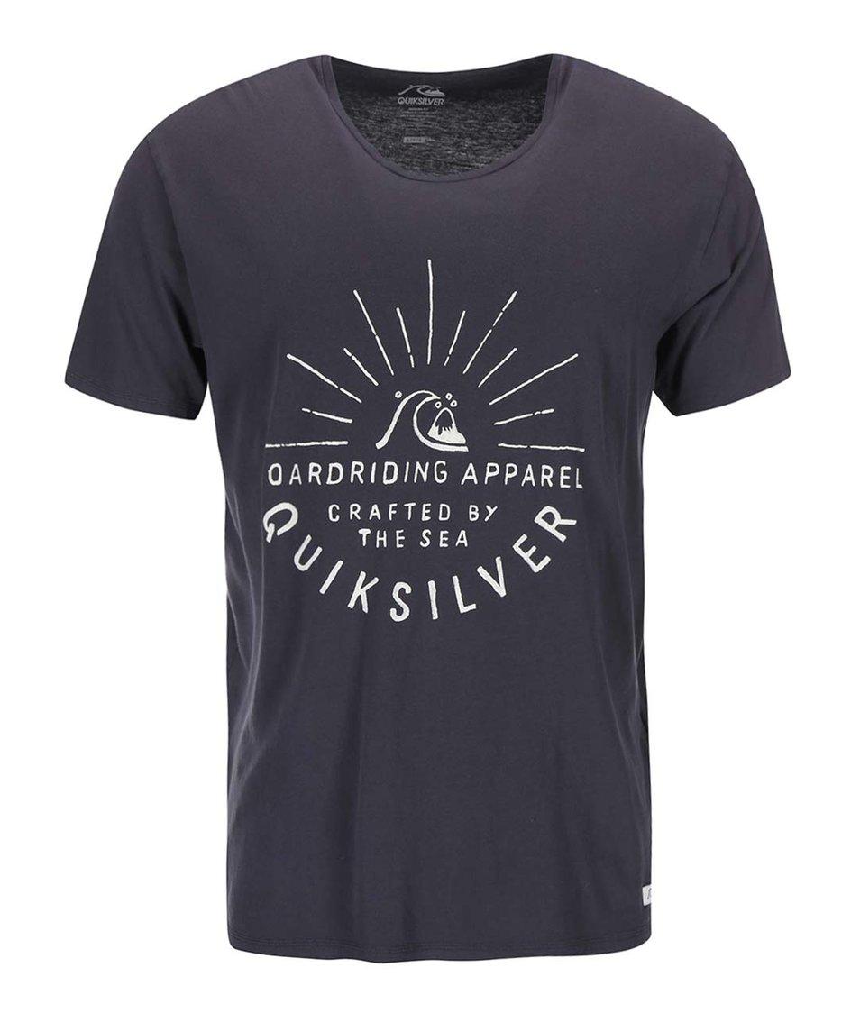 Modrošedé triko s potiskem Quiksilver Rising Sun