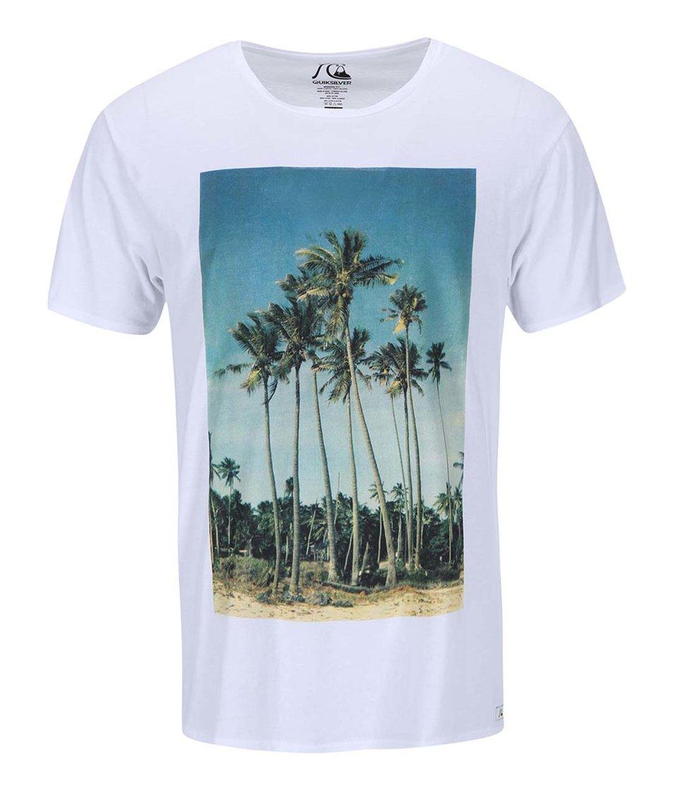 Bílé triko s barevným potiskem Quiksilver Hidden Log