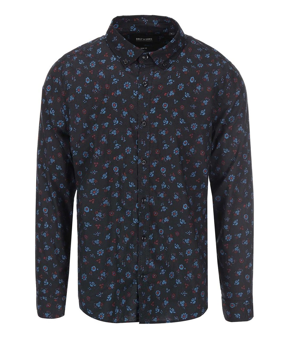 Černá košile se vzorem květin ONLY & SONS Freddy