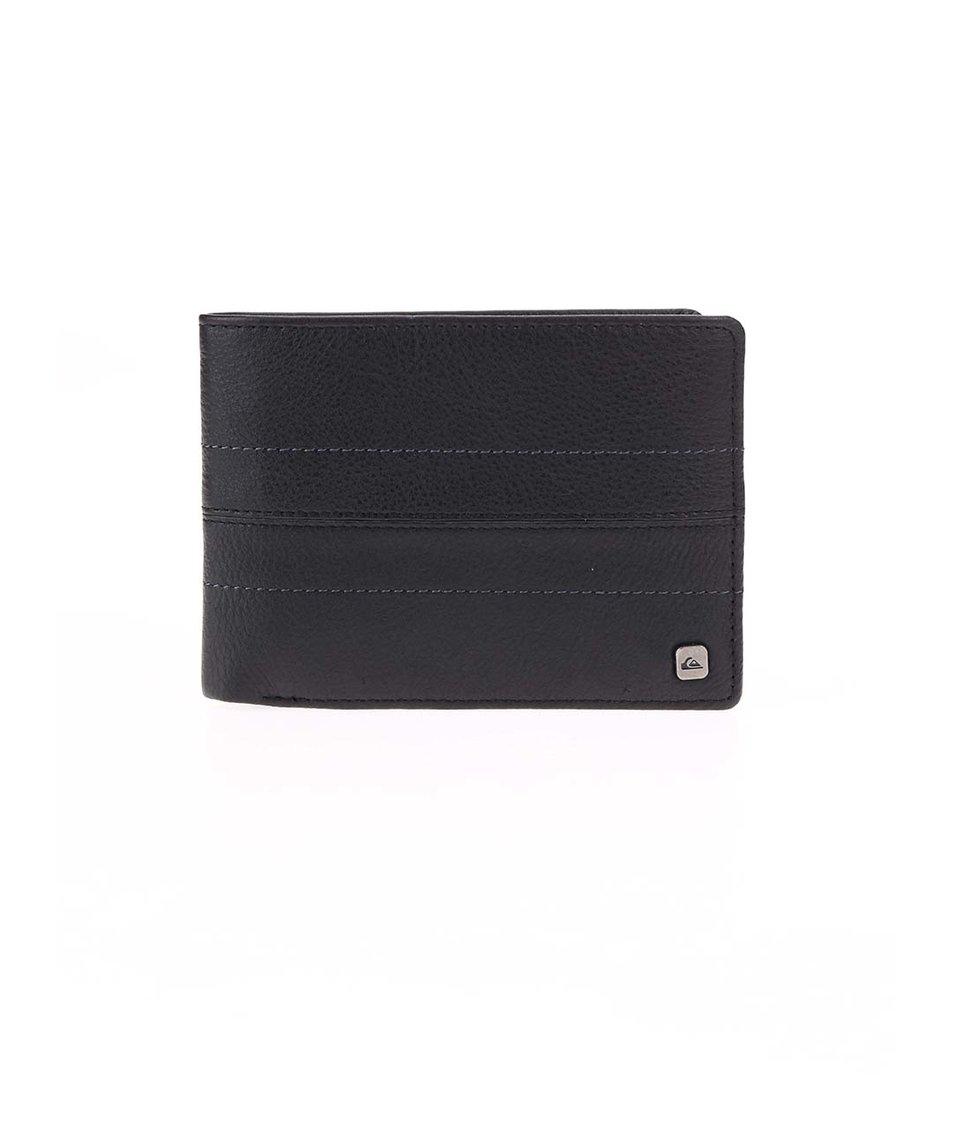 Černá prošívaná kožená peněženka Quiksilver All Night
