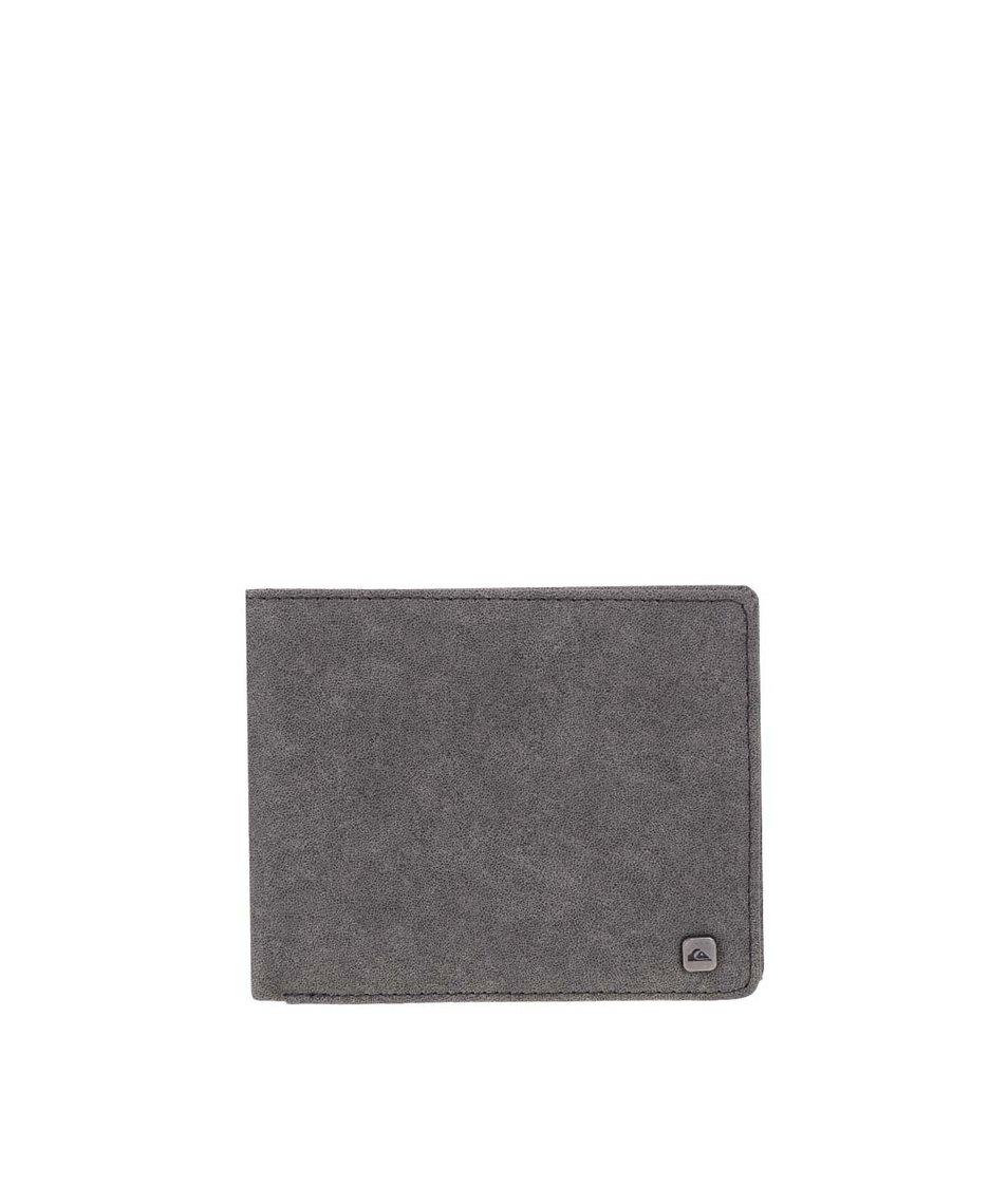 Šedá koženková peněženka s logem Quiksilver Slim Options