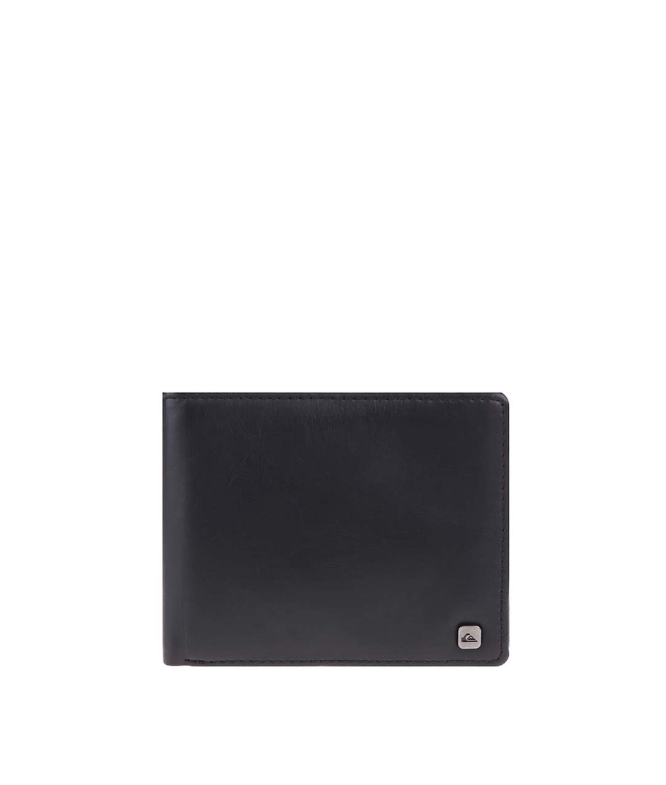 Černá koženková peněženka s logem Quiksilver Slim Options