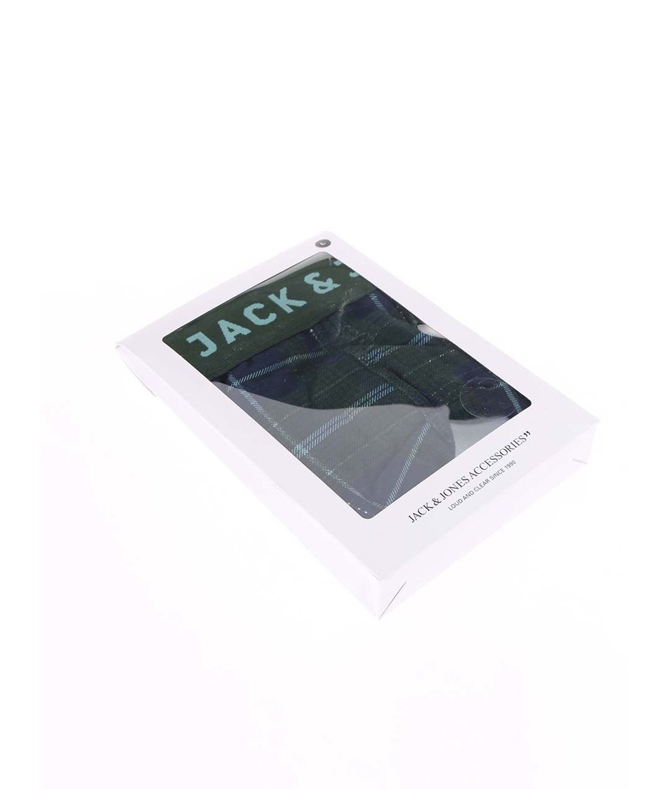Modro-zelené kostkované boxerky Jack & Jones Check