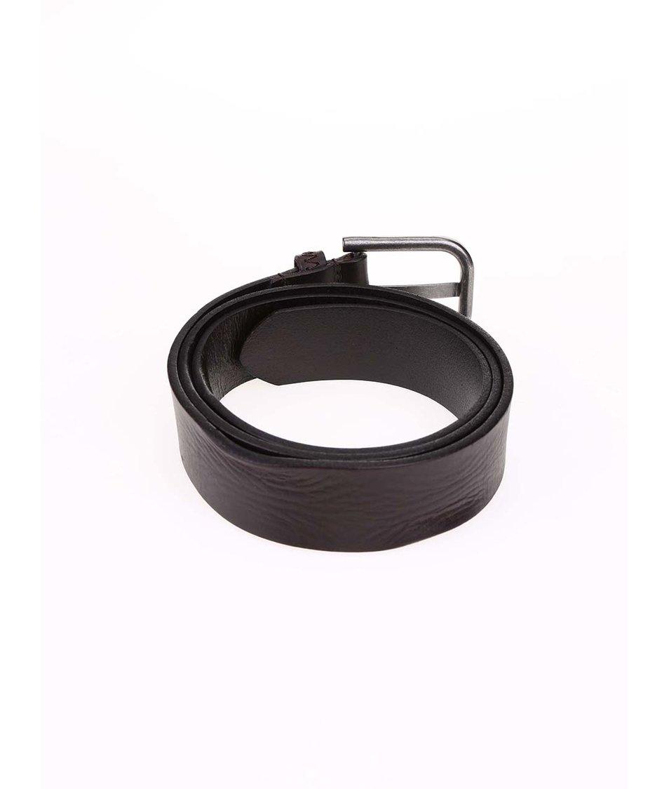 Tmavě hnědý kožený pásek Quiksilver Creased