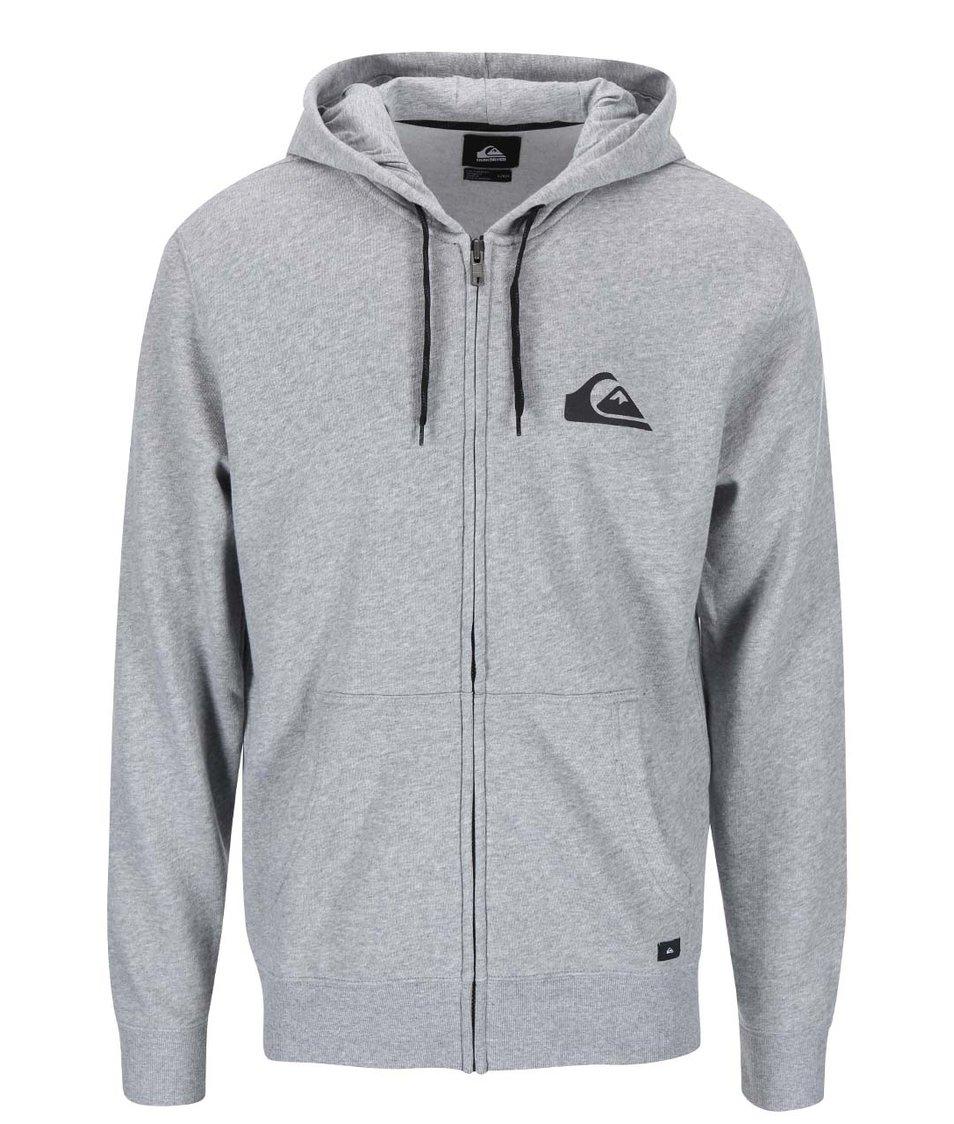 Světle šedé mikina na zip Quiksilver Everyday