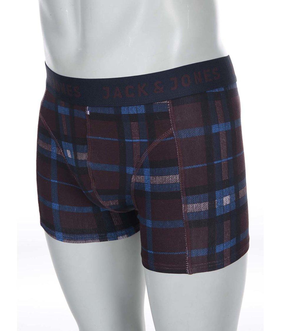 Modro-vínové kostkované boxerky Jack & Jones Check