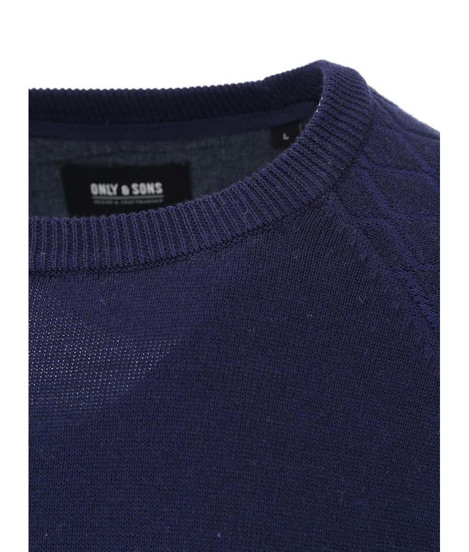 Tmavě fialový svetr s prošívanými rukávy ONLY & SONS Bay