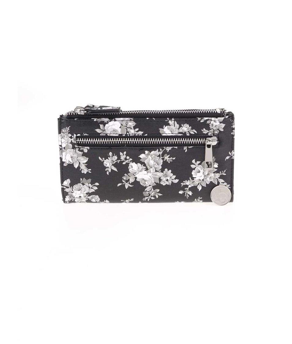 Černá peněženka s květinovým potiskem Dorothy Perkins