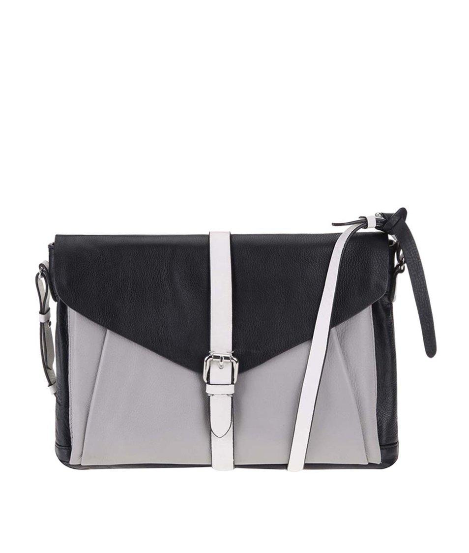 Šedo-černá kožená kabelka Clarks Tenderly Quote