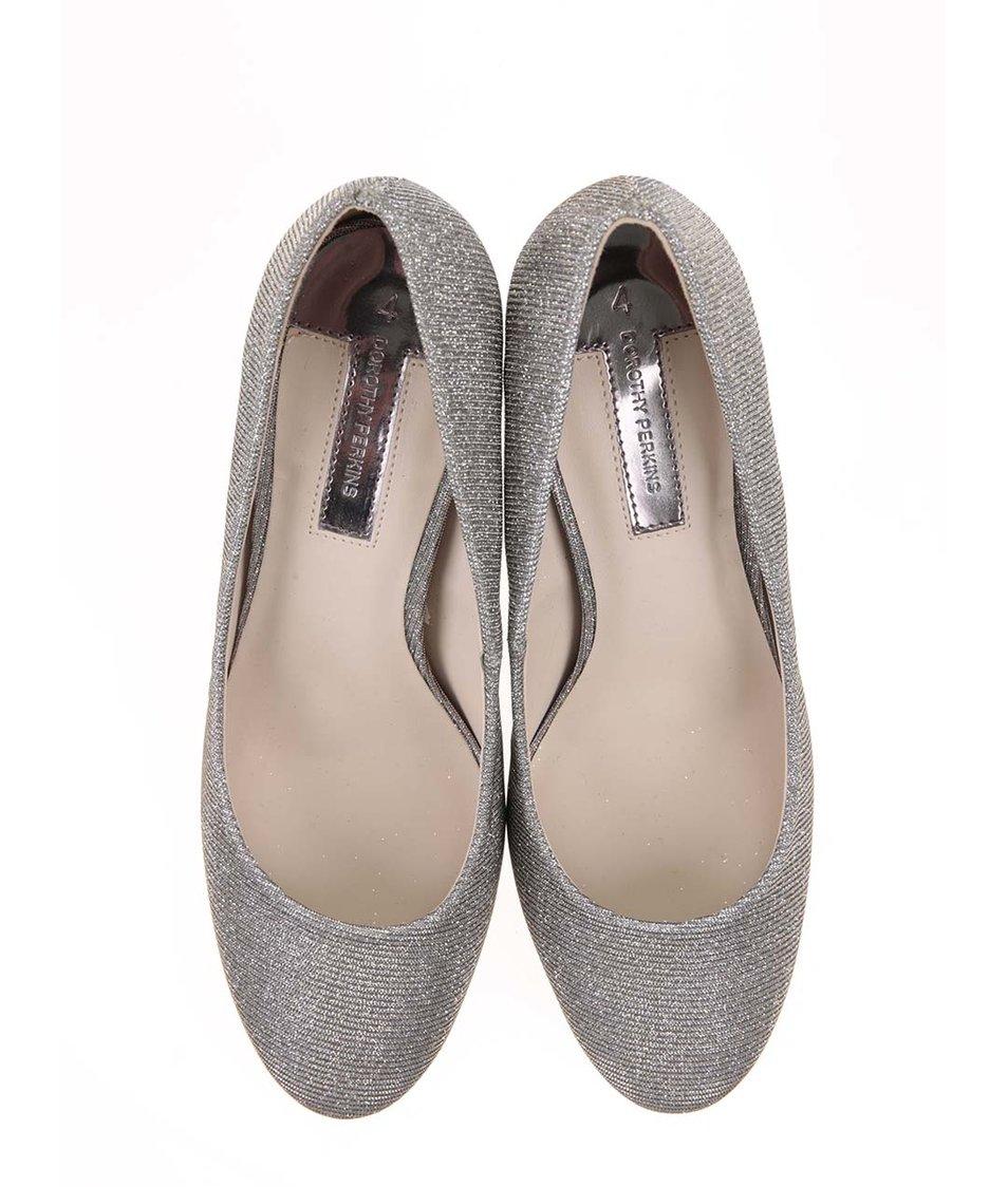 Třpytivé lodičky ve stříbrné barvě Dorothy Perkins