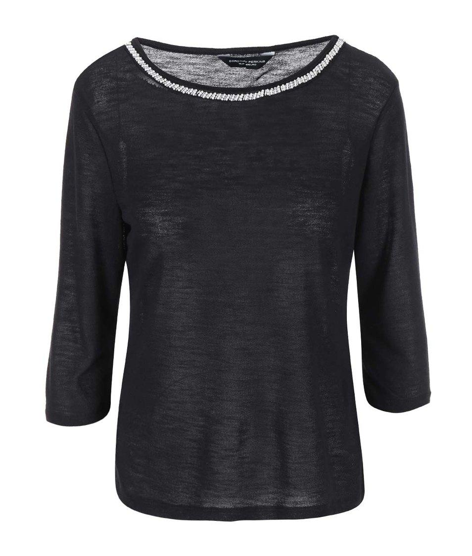 Černé tričko se zdobením kolem krku Dorothy Perkins