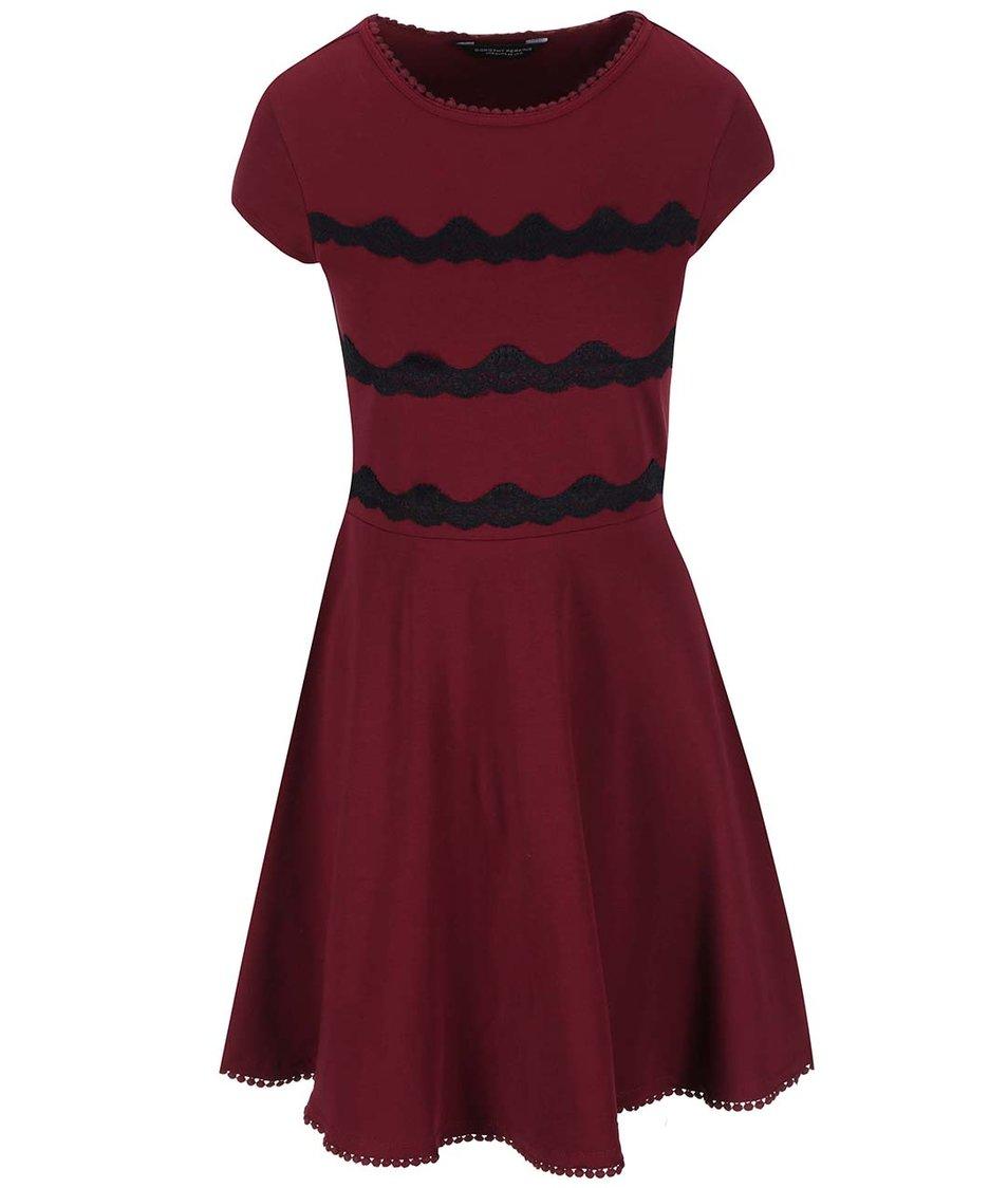 Vínové šaty s černou krajkou Dorothy Perkins