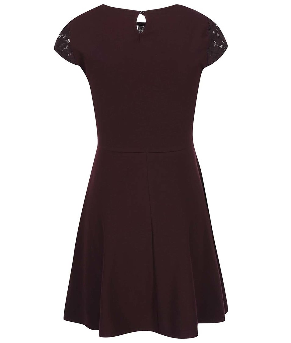 Vínové šaty s krajkovým topem Dorothy Perkins
