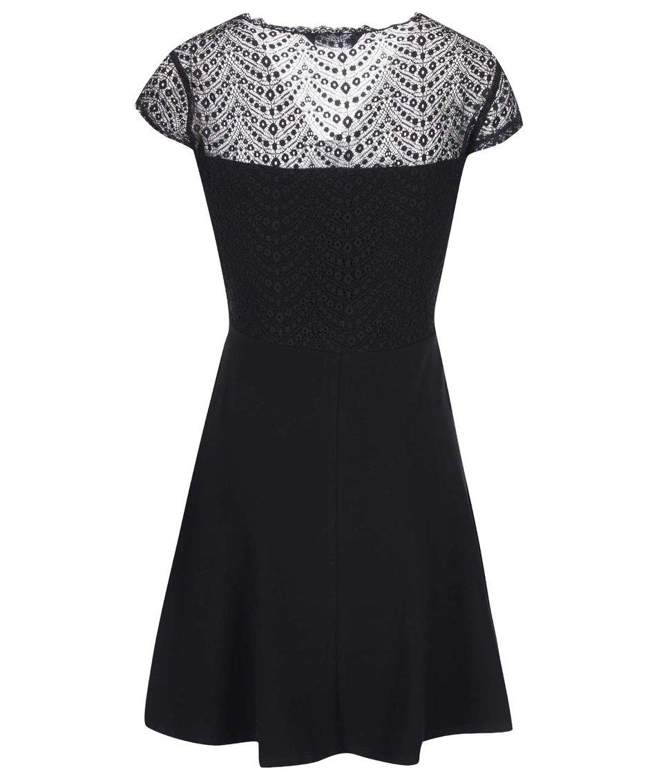 Černé šaty s krajkovým topem a áčkovou sukní Dorothy Perkins